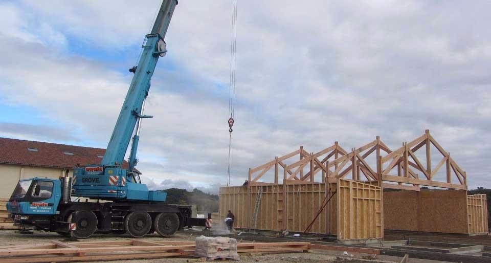 image9 - mur ossature bois charpente bois/metallique metal bardage bois composite caillebotis fabrication commande numerique construction assemblage